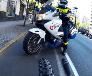 Policía de Zaragoza en carril bici