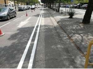 Nuevas líneas pintadas, tras fresar el asfalto